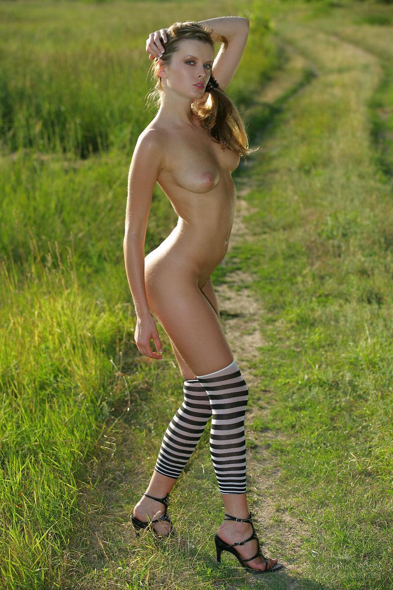 Ошеломительная Nikky Case стаскивает платье и обнажает